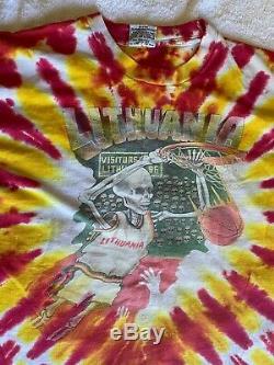 1992 Grateful Dead Lituanie Basket Originale T-shirt Tie-dye XL Jeux Olympiques