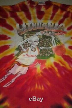 1992 Liquide Bleu Grateful Dead Shirt Large Lituanie De Basket-ball 1992 Tie Dye