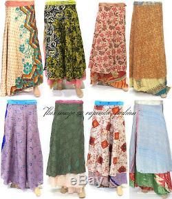 20 Pc Vintage Silk Sari Magique Enroulable Volantée Jupe Robe En Gros Lot Indien