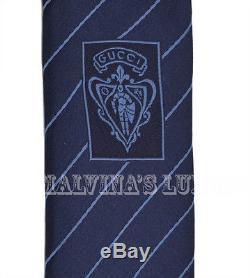 200 $ New Auth Gucci Tie Blue Gg Motif Rayé En Soie Tissée 408866