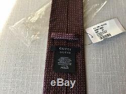 200 $ Tn-o Gucci Tie 57 X 3 Bourgogne Rouge Foncé Multi-couleurs Guccissima Gg Logo