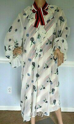2019 Tory Burch Contraste Slip Floral Noeud Rayé Cravate Piste Robe XL Us 14