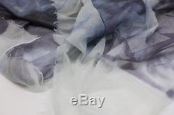 2195 $ Brunello Cucinelli Écharpe Tie-dye Pailletée Métallisée 100% Cachemire A186