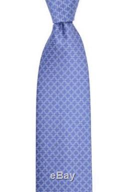 230 $ Nwt Brioni - Cravate En Soie Tissée À Motif Géométrique Et Grille Bleue