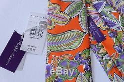 235 $ Nwt 100% Authentique Ralph Lauren Purple Étiquette À Fleurs En Soie, Italie