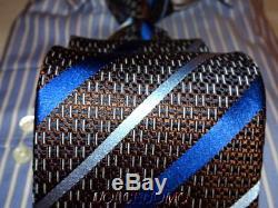 245 $ Homme Ermenegildo Zegna Cravate En Silk Médaillon 3.5 Cuivré Marron