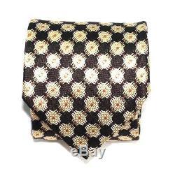 260 $ Nwt Tom Ford Médaillon Orange Or Brun 100% Cravate En Soie Fabriquée En Italie