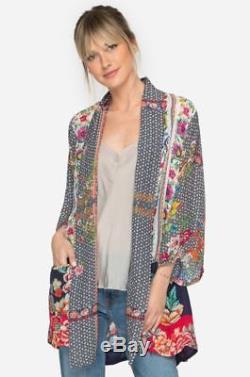 $ 268 Johnny Was Rosmishka Kimono Veste Cardigan Rayon Cravate En Soie Devant Sz 2x Nwt