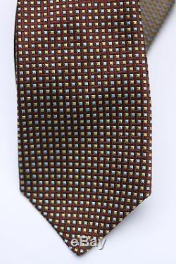 295,00 $ Cravate En Soie Tissée Multicolore En Soie Brune À 7 Plis Kiton