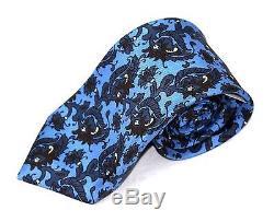 295 $ Nwt Kiton Cravate Multicolore En Soie Paisley 100% Soie Bleu Fait À La Main En Italie
