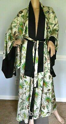 $ 2970 Adriana Iglesias Anna Floral Tropical Réversible Robe En Soie Robe Veste Os