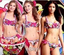 31 Betsey Johnson Rose Déco Bikini Soutien-gorge Floral Multicolore Nouée Côté B-dessous M