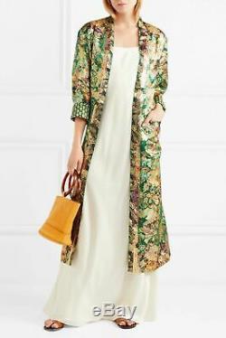 3465 $ Etro Paisley Soie Chatoyante Métallique Jacquard Kimono Tie Coat 42 Plumeau