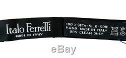$ 495 Nib Italo Ferretti Noir Bleu Cristal Swarovski Soie Réglable Bow Tie Set