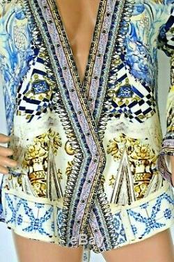 600 $ Camilla Dress Franks Sea Odyssey Embrasse Dos Ouvert Kaftan Veste Medium 2