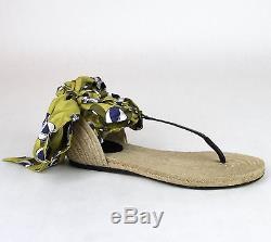 $ 695 Nouveau Authentique Gucci Carolina Beach Ball Satin Cravate Plate Sandale 338691 7362