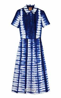 $ 695 Tory Burch Jasmyn Bleu Tie Dye Robe Robe Chemise De Piste Ligne It 40 / Us 4