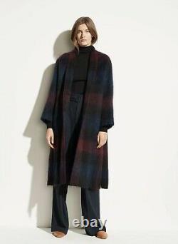 $995 Vince Women's Coat Small M/l Brushed Plaid Wool Blend Belted Long Jacket (en)