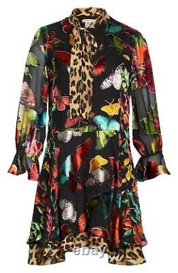 Alice + Olivia Black Leopard Butterfly Animal Moore Neck Tie Layered Dress XL 14