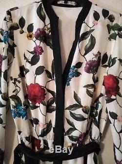 Alice + Olivia Broocklynn Robe Avec Ceinture À Nouer Papier Peint Floral Taille 2 Nwot