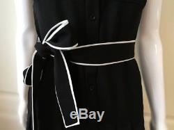 Alice Olivia Yoko Robe Chemise Plissée Noir Nouée À La Taille Piped Noir / Blanc