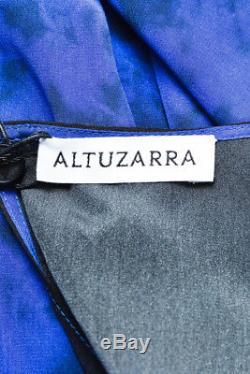 Altuzarra Nwt - Robe En Soie Bleue À Imprimé Cravate En Soie Et Soie Bleue Sz 36