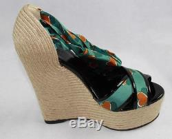 Auth 770 $ Gucci Heartbeat Satin Tie Wedge Espadrillle Sandale 39