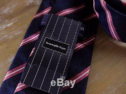 Auth Ermenegildo Zegna Couture Cravate En Soie À Rayures Nwt