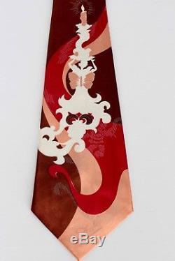 Auth. Vtg. Nouveau Vieux Stock Avec Tag Salvador Dali Lady & La Flamme Tie De Soie