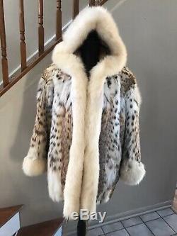 Authentique Spotted Lynx Fox Tuxedo Manteau De Fourrure Veste Avec Capuche