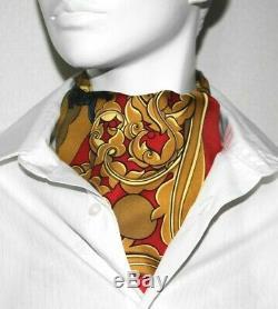 Authhermes Ascot Tie 100% Foulard En Soie Patten Rouge D'or Multicolore Unisexe Nettoyé