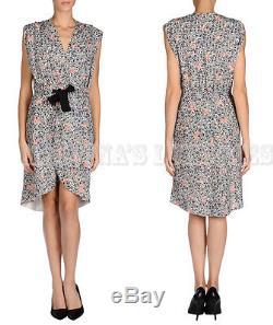 Balenciaga Dress Fleurs Imprimer Wrap Self Tie Bow Front Sz 40 Fr It 44 Us 6/8