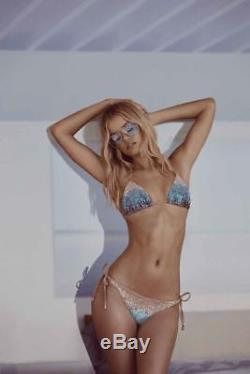 Beach Bunny Ariel Sirène Bleu Ombre Sequin Triangle Top Avec Fond De Cravate