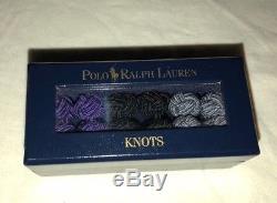 Boutons De Manchette Vintage Polo Ralph Lauren En Soie À Noeuds Avec Boîte De Rangement Ralph Lauren