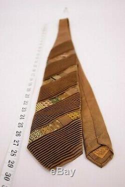 Brioni Cravate À Patchwork En Or Avec Des Patchs Multicolores Récents