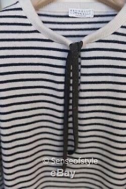 Brunello Cucinelli Pull En Cachemire Rayé Avec La Taille De Cravate Garniture Monili XL