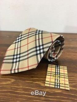 Burberry London Neuf Avec Étiquettes Beige Noir Plaid Rouge Motif 100% Soie Cravate 4