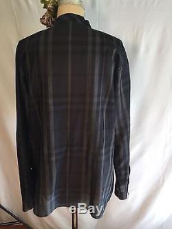 Burberry London Sheer Noir / Gris Nova Chemisier À Carreaux Avec Cravate Au Cou. Taille L