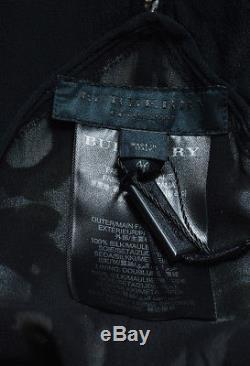 Burberry Nwt Robe Maxi Imprimée Multicolore En Soie Et Soie Noires Sz 44