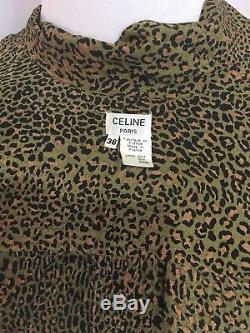 Celine Paris Vintage - Blouse Papillon À Nœud Papillon Et Imprimé Léopard