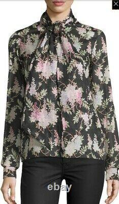 Céline Phoebe Philo Floral Print Tie Neck Blouse Vendu Au Détail 1059 $