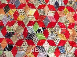 Chaîne Attachée De Patchwork De Tissu De Patchwork Vintage Blocs De Culbutage Star 88 X 70