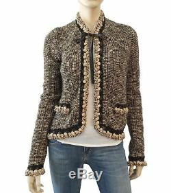 Chanel 04a Cardigan Brown Et Cuir Beige Tie Pull Col 38 Us 6