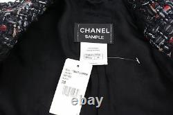 Chanel 10a 10f Noir Rouge Multicolor Lesage Alpaga Veste Fr36 Fr38 Tn-o