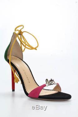 Charlotte Olympia Noir Multicolore Daim Lets Dance Tie Sandales Taille 35 Nouveau 775 $