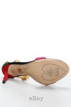 Charlotte Olympia Noir Multicolore Suede Lets Dance Tie Sandales Taille 39 M Nouveau