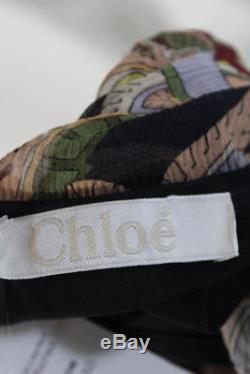 Chloe Robe Pour Femme Taille 36 Multi Couleur Soie Dolman À Manches Longues Une Ligne V Neck Tie