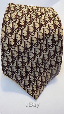 Christian Dior Vintage Cravate Imprimé Géométrique Jaune Marron