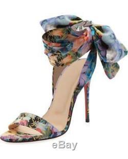 Christian Louboutin Sandale Du Desert Fleur Cheville Bow Tie Talon Escarpins 895 $