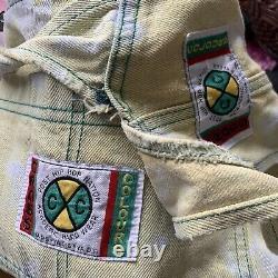 Couleurs Cross Overalls Jeans Vtg 90 Hip Hop Tie Dye Baggy Denim Rognée M 2